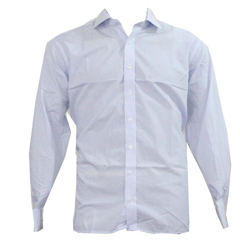 Blue Whie Cotton Stripe CufflinkL Men'Shirt Sz 18