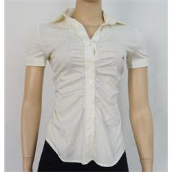 NY & C Cream-Yellow Stripe Short Sleeve Shirt Top Sz-XS
