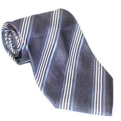 Gian Franco Gray-White Pattern Striped Mens Tie