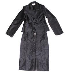 Black-Purple-Stripe-Cotton-Ladies-Complete-Suit-Skirt-Sz-40