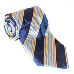 Gian Franco Navy Blue-Pink-Yellow Mix Striped Mens Tie