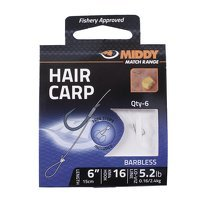 Middy Hair Carp Barbless Hooks-to-Nylon 16s to 5.2lb