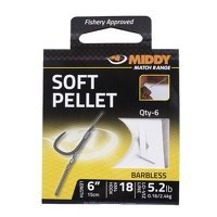 Middy Soft Pellet Barbless Hooks-to-Nylon 18s to 5.2lb