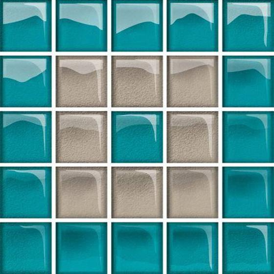Glass Azure Dark Beige Mosaic New C 14,8x14,8