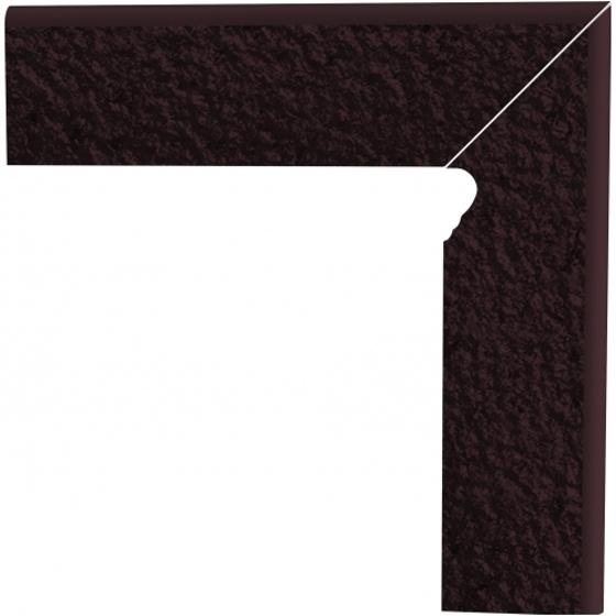 Klinkier Natural Brown Duro Cokół Schodowy Prawy 30x8
