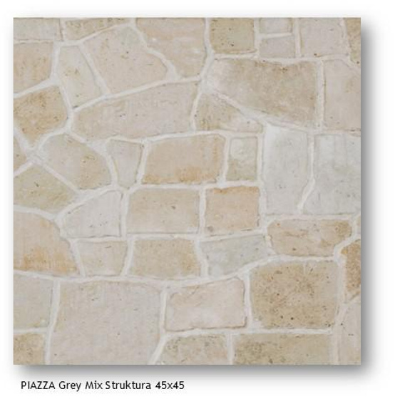 Piazza Grey Mix Struktura 45x45