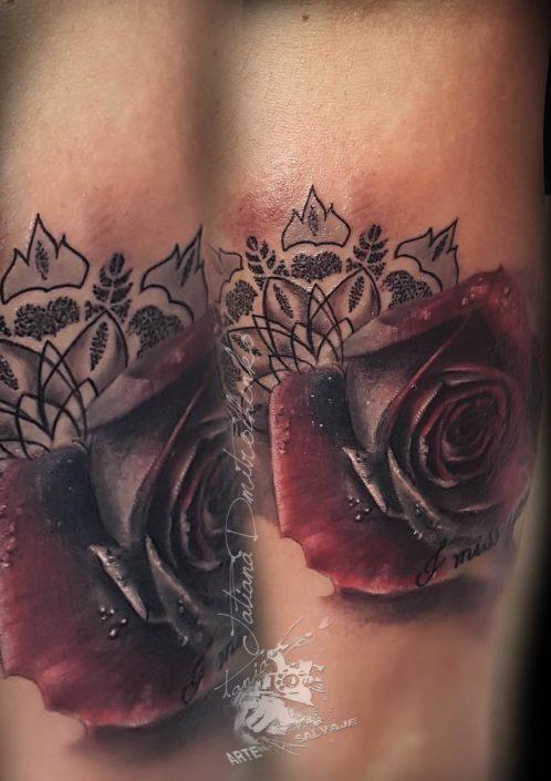 Tattoo Tatuaje Rosa Mandala