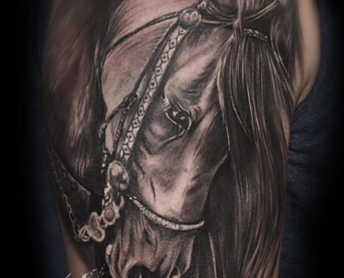 tatuaje cover up retratos de animales caballo realismo en valencia