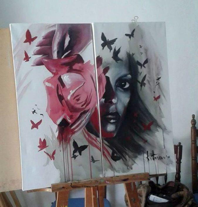 Cuadro Rosas pintura tattoo Valencia