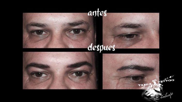 Micropigmentacion de Cejas y ojos Antes y despues