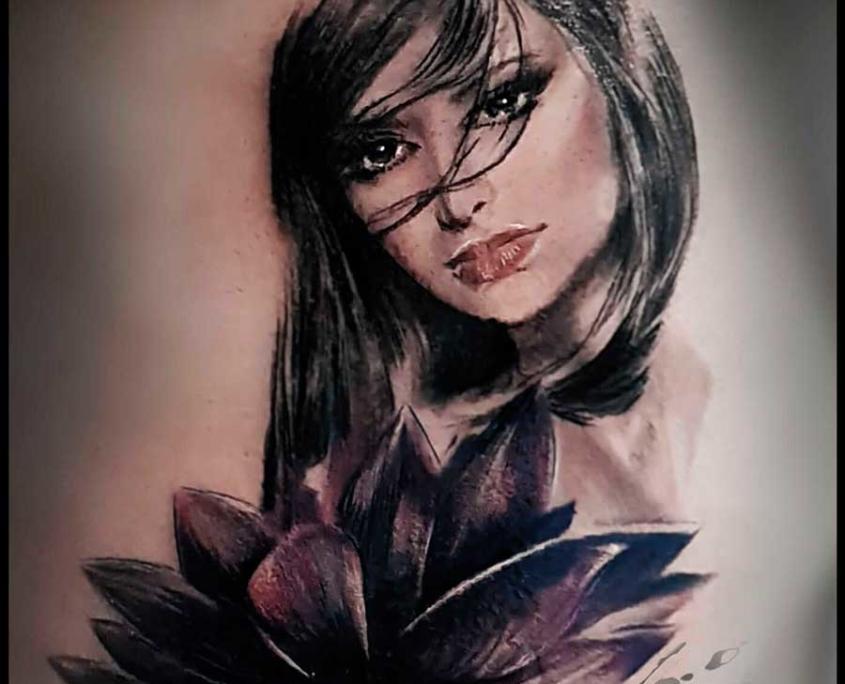Tatuaje Cara Mujer Realista