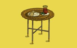 تصميم اليستريتر لطاولة شاي ومعمول