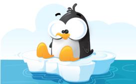 رسم كرتون لعصفور البطريق على قطعة جليد في الماء