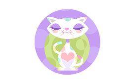 Cartoon Polka Dot Cat / رسم كرتوني مجاني لقطة على برنامج اليستريتور