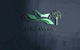 شعار  باللون الأخضر على شكل منزل ريفي