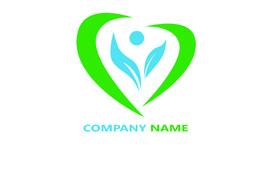 شعار باللون الاخضروالازرق الطبي على شكل قلب