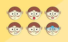 وجه طفل بتعبيرات مختلفة