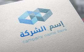 شعار أزرق يحتوي على أشكال هندسية