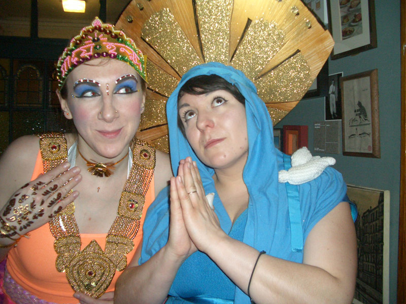 Tatty Devine in 'religion' fancy dress