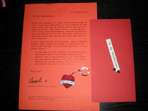 Craftivist Collective alternative Valentines letter with Tatty Devine keyring