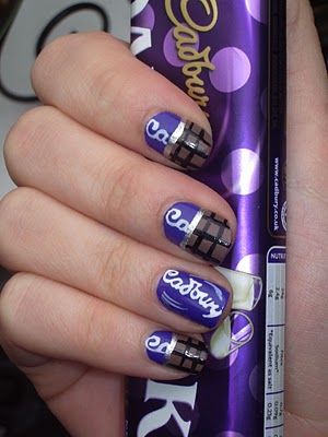 Cadbury's chocolate bar nail art