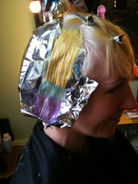 Harriet in foils at Nina's Hair Parlour