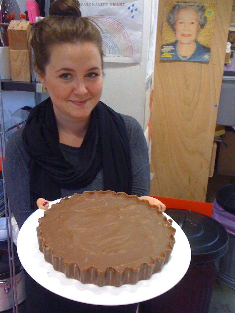 Jenny at Tatty Devine with her Reese's Pieces cake