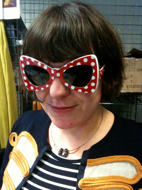 Rosie Wolfenden in Tatty Devine for John Lewis sunglasses