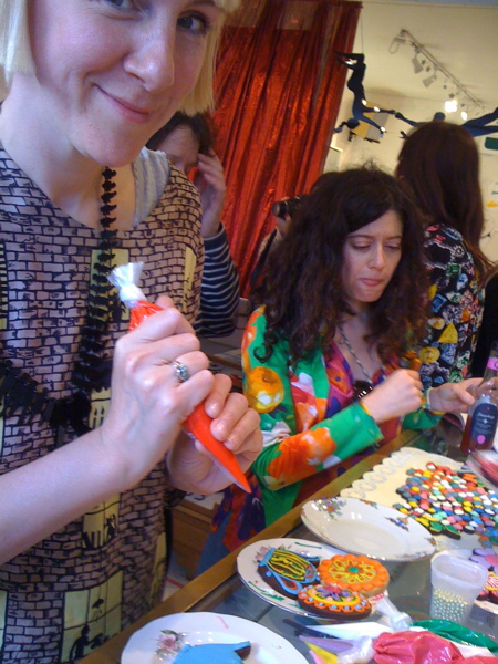 Harriet Icing with the Biscuiteers at Tatty Devine