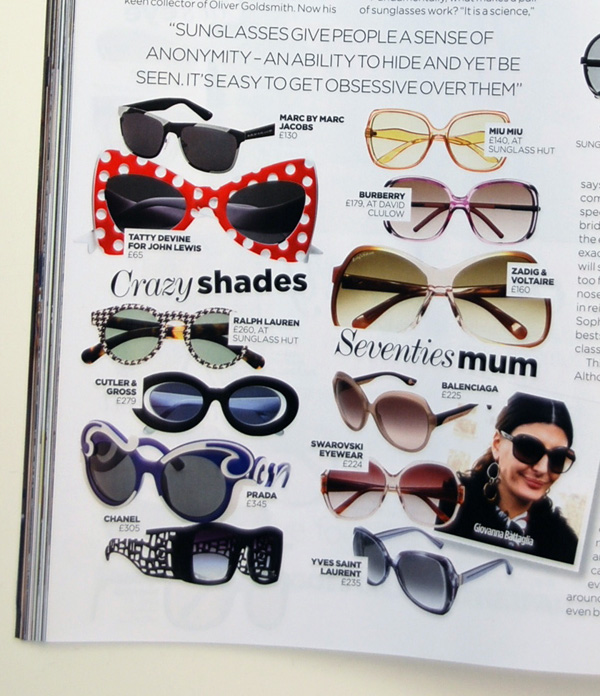 Tatty Devine sunglasses for John Lewis in Vogue