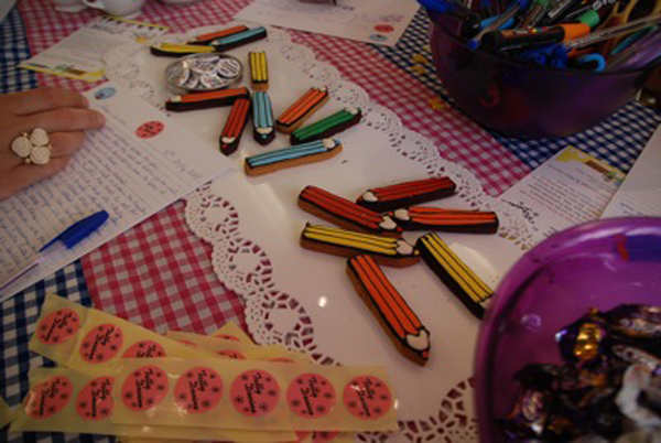 Biscuiteers pencil biscuits at Letter Lounge at Tatty Devine