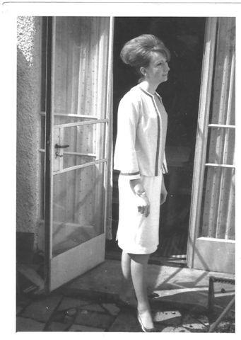 Harriet's mum in handmade Chanel-style suit