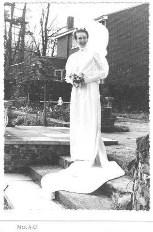 Harriet's mum on her Edwardian style wedding day