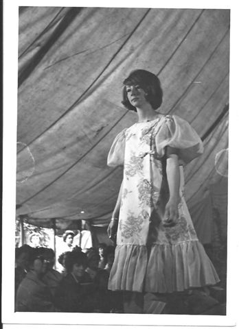 Harriet's mum modelling a negligee