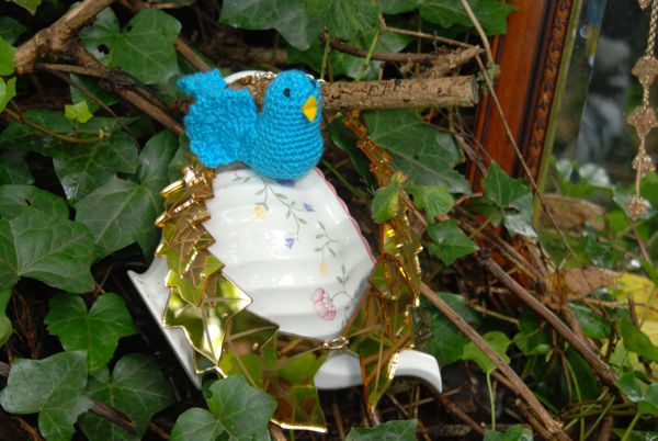 Crochet bird with jewellery nest