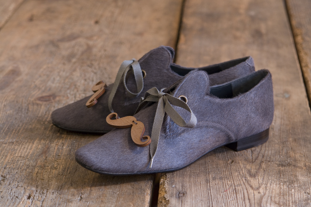 The Old Curiosity Shop and Tatty Devine grey ponyskin moustache shoes
