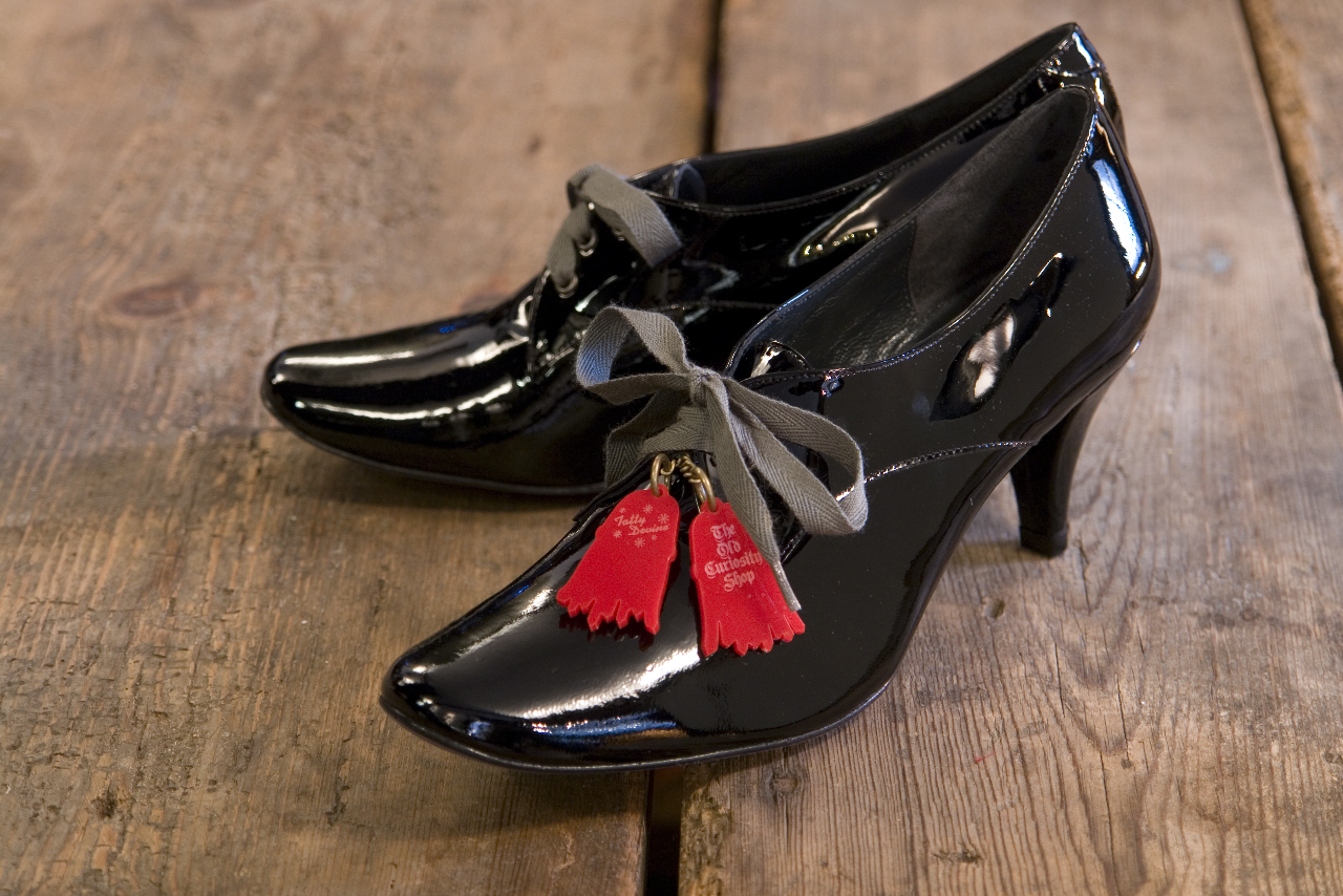 The Old Curiosity Shop and Tatty Devine black patent tassel shoes