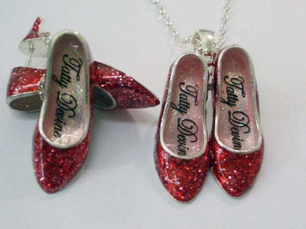Tatty Devine red glitter silver shoe jewellery
