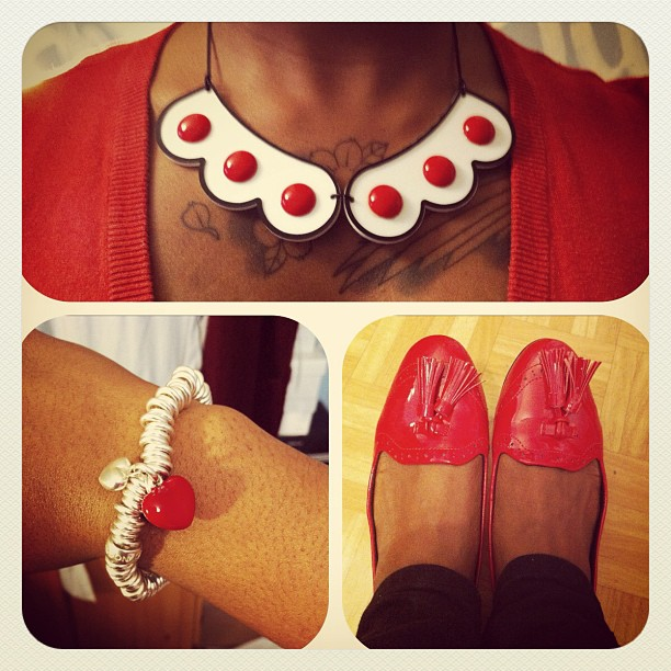 Lady Velo in Tatty Devine dotted collar necklace