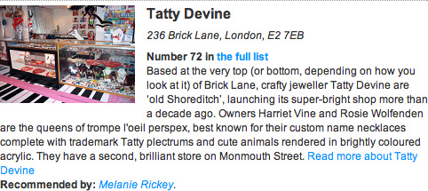 Tatty Devine Time Out The Best 100 Shops in London