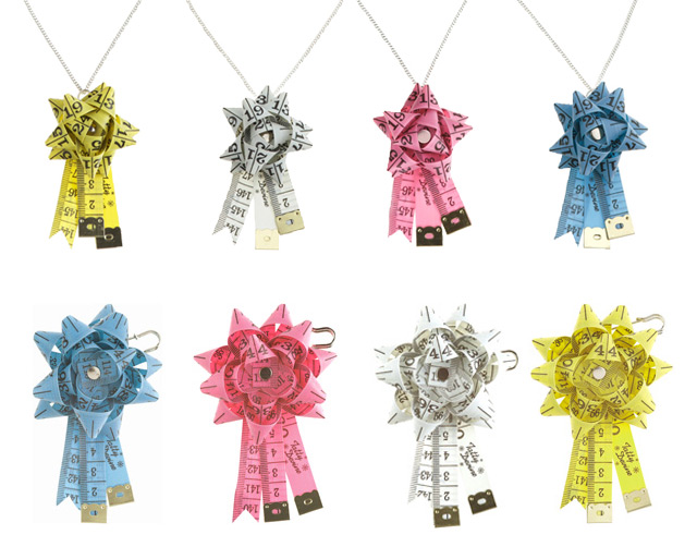Tape Measure Rosette Necklaces and Brooches