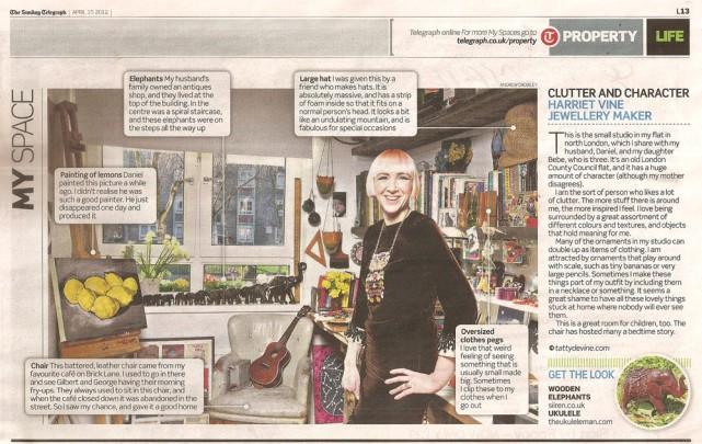 Tatty Devine's Harriet Vine in The Sunday Telegraph