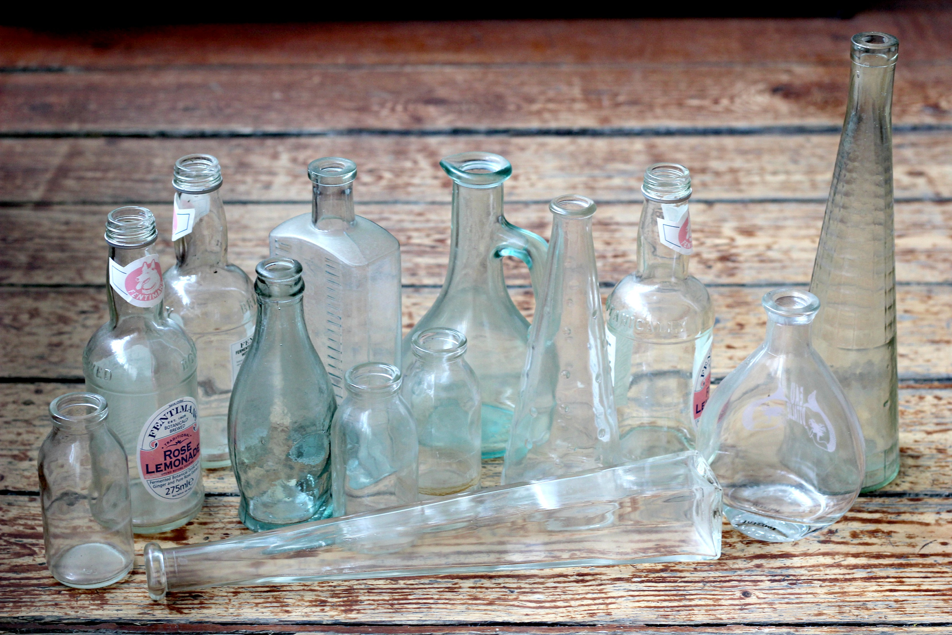 Glass bottles - how to create simple flower displays.