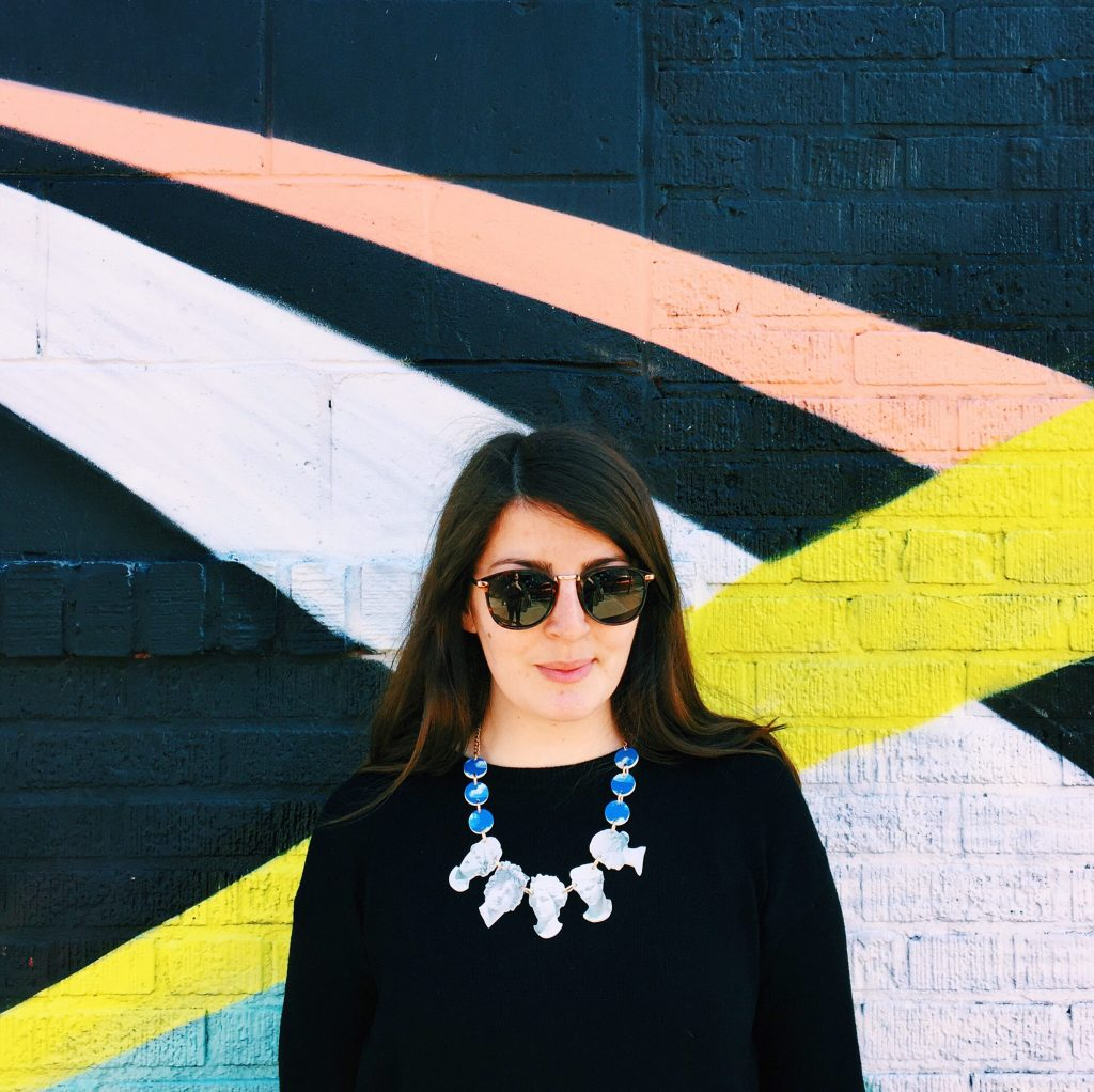 Victoria Penrose in Tatty Devine Neoclassical Bust Necklace