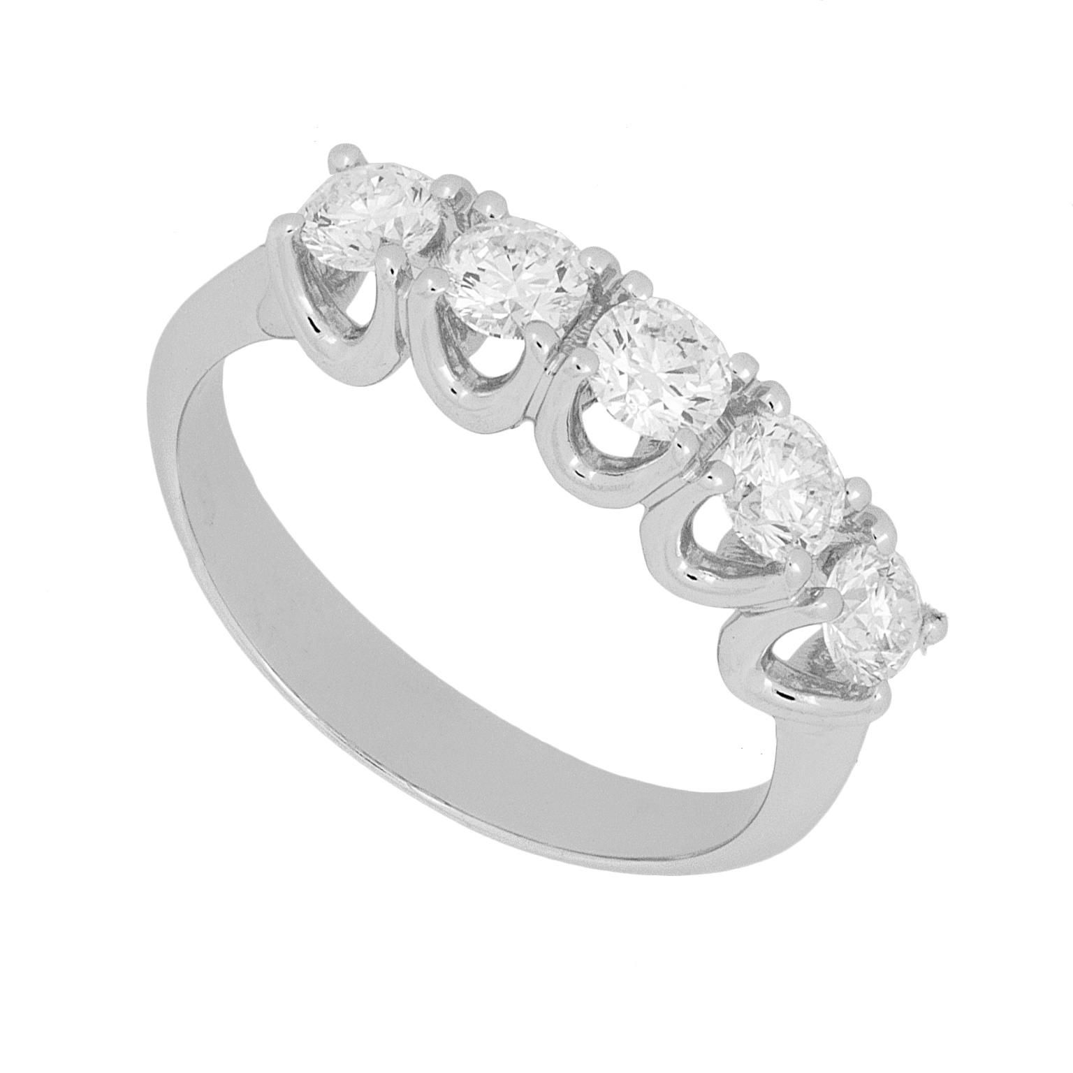 professionale qualità tecniche moderne Anello riviera 5 diamanti | DiamondInvest