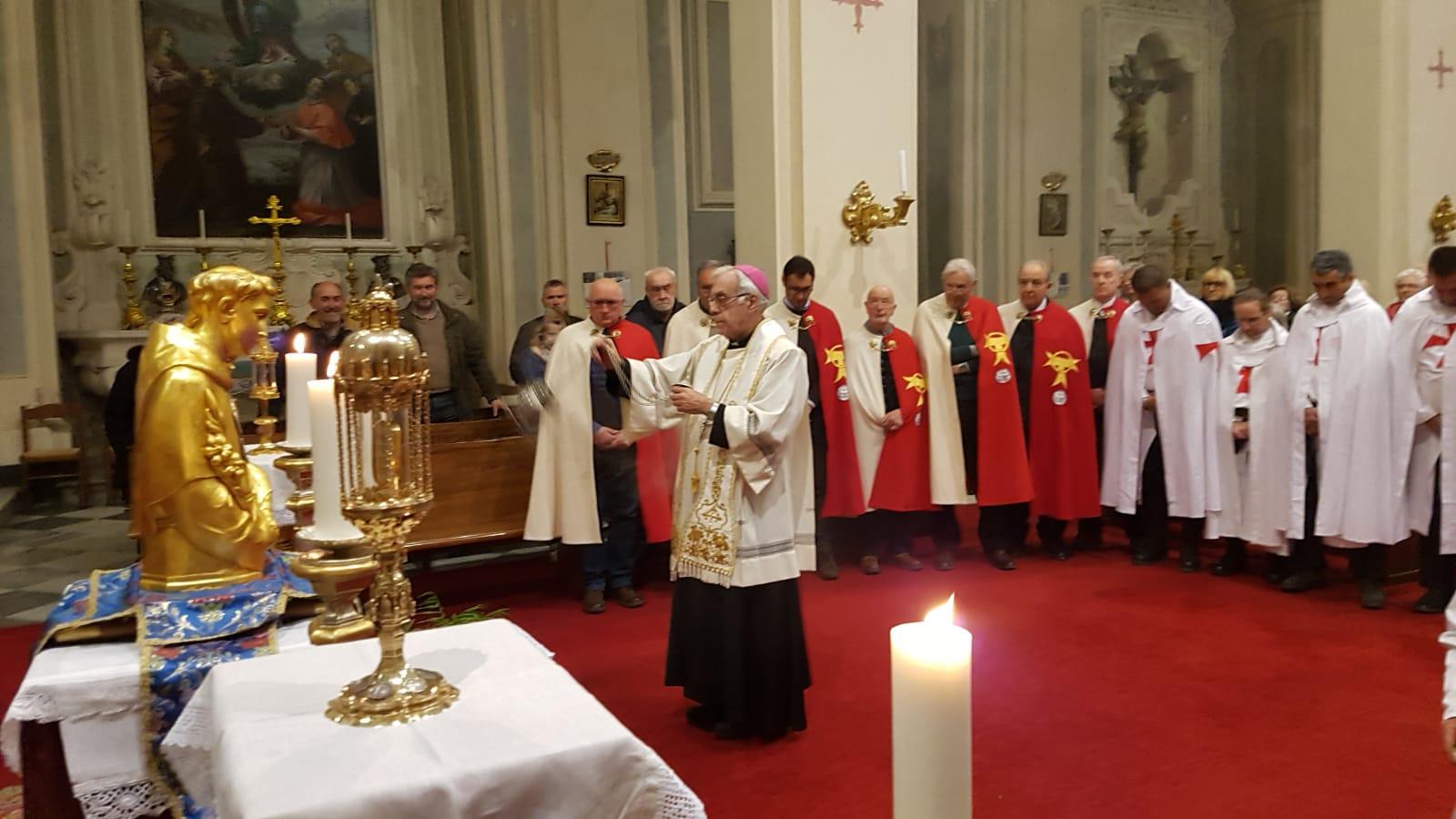 Accoglienza delle reliquie di San Francesco d'Assisi e di Sant'Antonio da Padova nella chiesa di San Francesco e Colombano