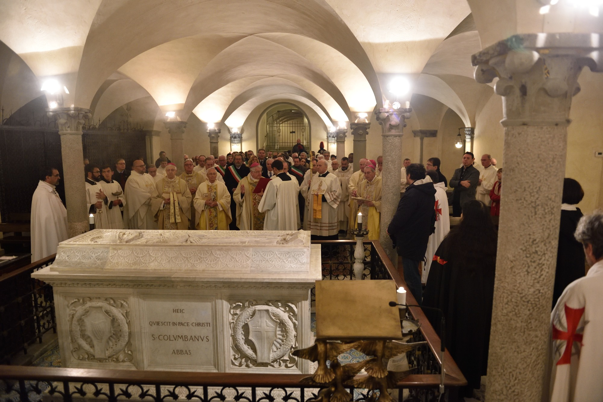 Celebration of S. Colombano 2019 Bobbio (PC) in the Abbey dedicated to him with the Bishops of Piacenza, Lodi, Fidenza, Derry, and the presence of the Mayors of Val Trebbia