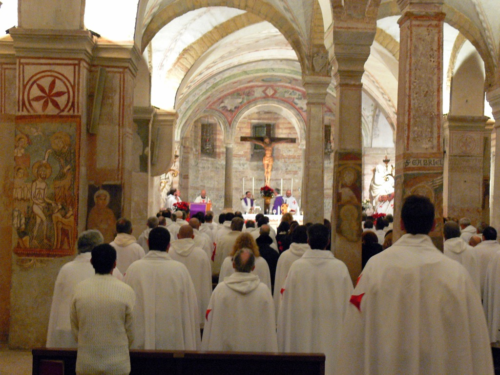 The Catholic Templars participate in the night prayer vigil at San Fermo Inferiore, Verona