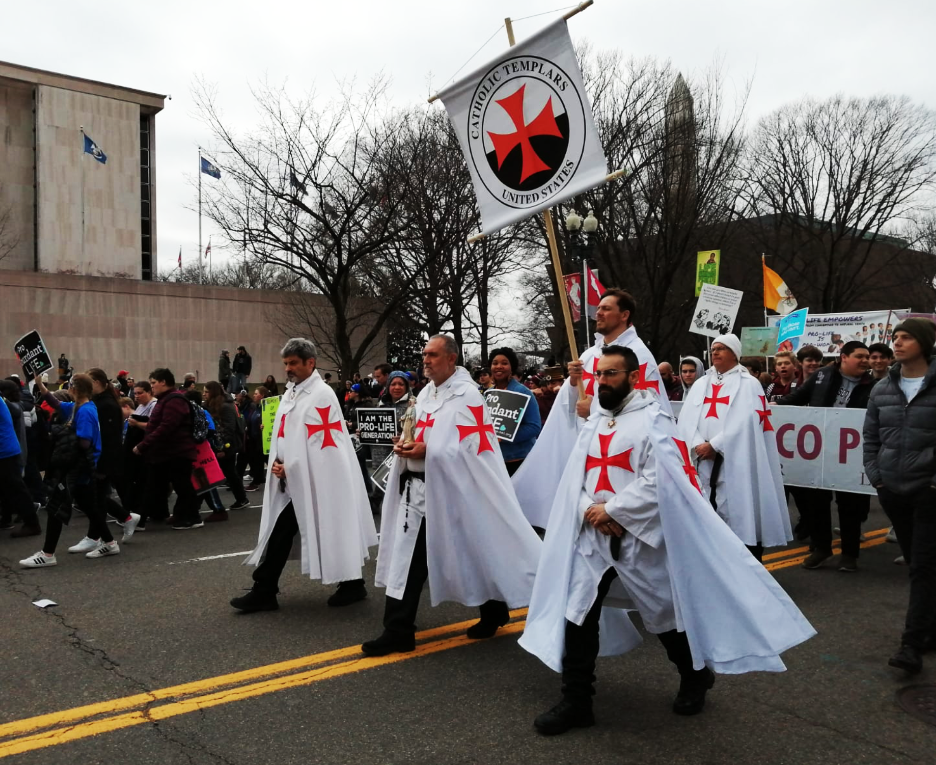 I Templari cattolici degli Stati Uniti partecipano alla March for Life 2020 a Washington DC