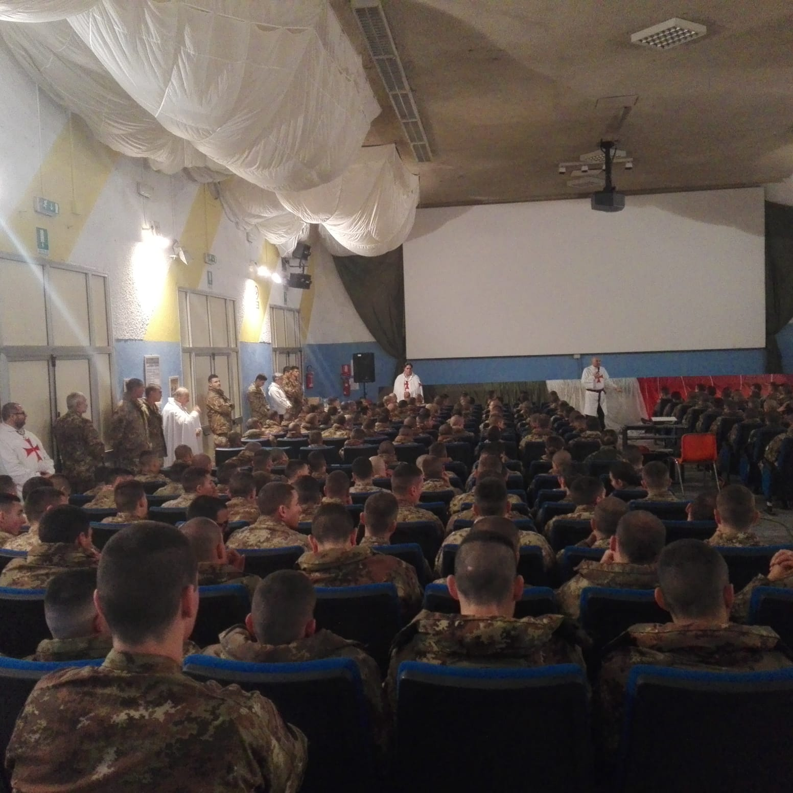 Conference on the Templars at the Italian Military Skydiving training center barracks in Pisa (Italy)